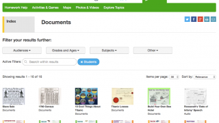 Primary-source documents let kids explore historical text and images.