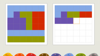 Grids are larger in higher levels; the largest are 6 x 6.