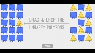 "Drag and drop shapes to make them ""happy."""