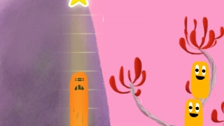 Combine the Nooms in a certain way to reach the star, but zoom past the bombs.