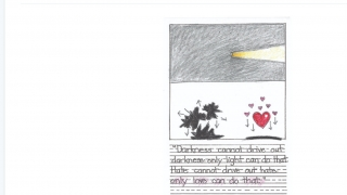 """Some drawings accompany quotes from well-known people, such as this one from the """"peace"""" course."""