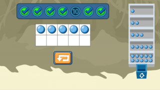 Popular manipulatives, like 10 frames in a primary activity, are used throughout the DreamBox program.