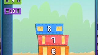 In this game, kids order numbers by stacking blocks.