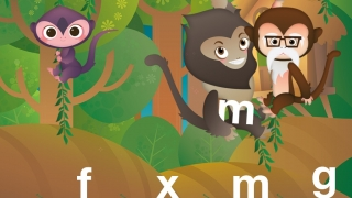Choose a letter to give to the animal in a letter identification game.