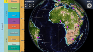 The screen is split between the geologic timeline and the globe.