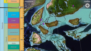 Zoom in to better see where modern borders fell on ancient landmasses.