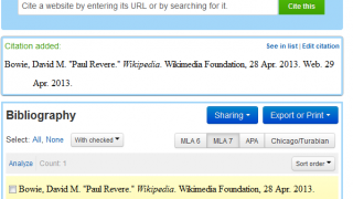 Citing a website is pretty easy with EasyBib's Bibliography tools.