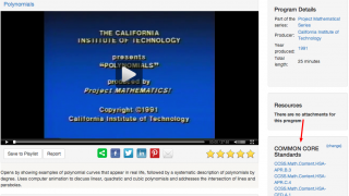 Many of the Math and Language Arts videos are aligned with Common Core Standards.
