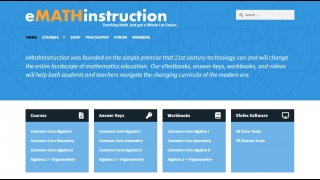 The home page contains quick links to courses, answer keys, workbooks, and more.