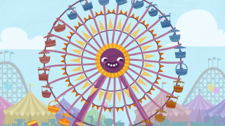 The Ferris wheel lets kids choose games for numbers 1-5.