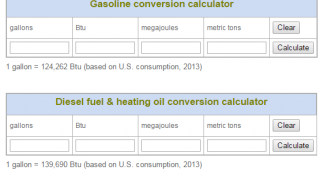 Energy Conversion calculators switch between units of measure.
