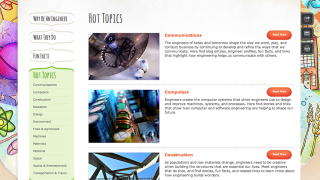 The site has a focus on up-to-date information about engineering careers and research.