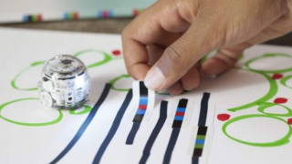 Use markers or color code stickers to direct Evo as he uses his light sensors to follow a path.