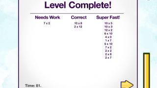 Students can see how they performed on each level.