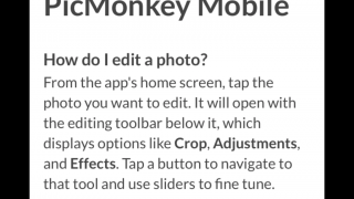 In-app FAQs are helpful; outstanding support/tutorial can be found at PicMonkey's website.