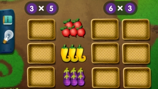 Kids drag vegetables into crates to find the product of two numbers.
