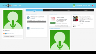 The user's personal feed includes the user's posts, likes, playlists, and activity log.