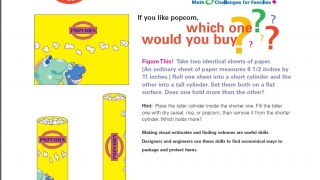 "Learning Challenge 3 – ""Popcorn"" asks kids to decide which container will hold more popcorn."