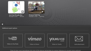 Presentations can be saved on Youtube or Vimeo.