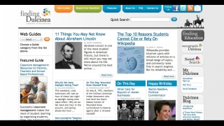 The site's home page includes an item on what happened each day in history and links to other original content pieces and guides.