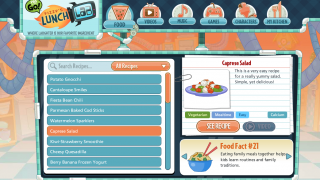"""Access recipe offerings under the """"Food"""" tab; a rotating display shows fun food facts."""