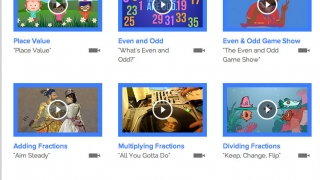 The subtopics under Numbers and Operations each have a song and video.