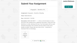 From the student-facing side, kids can view and submit assignments, including selecting from Google Classroom.