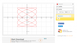 Kids can change parameters and intervals on a graph of a parametric equation.