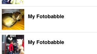 The app's main screen. Here teens can find their previous Fotobabble creations, access the app's settings, and add images from the in-app camera or from the device's camera roll.