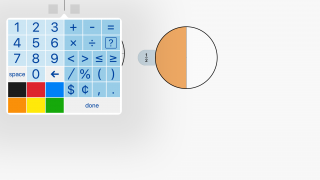 Use the keypad to add numbers, symbols, and colors.