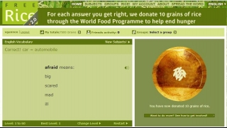 The site opens with a Level 1 question and a wooden bowl that fills with rice when you answer correctly.