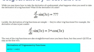 Trigonometry Derivatives explanation is conversational and clear.