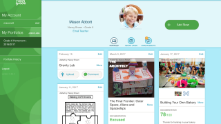 Teachers can view individual student portfolios and monitor student progress.