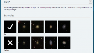 A help option offers examples of classified galaxy types.