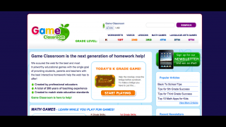 The site homepage includes links to games, worksheets, videos, and lesson plan materials.
