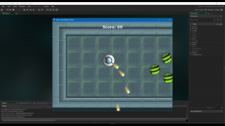 The game made in the first tutorial project has users shooting at fuzzy blobs, trying to earn a high score.