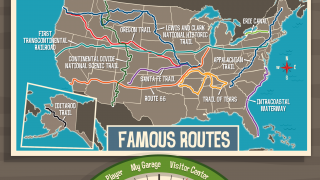 The Visitor Center lets kids explore information about states' historic routes and geographic features.