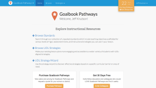 From the homepage, users can browse unpacked CCSS (the Pathways) or focus on UDL-based instructional strategies.