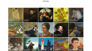 Many artists and thousands of works are represented on the site.