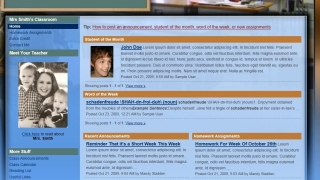 The classroom site template is dense with layers of information, such as Student of the Month, assignments, announcements, and reading list sections.