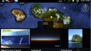 View of the Island of Maui with quick access photos and layers icons for Wikipedia and Places activated.