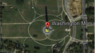 The Washington Monument with device-based app menu.