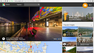 The homepage carousel highlights user Views, above a corresponding map; Google's Street View collection can be accessed at the top right.