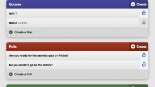 The main page for each event (class) shows created polls, quizzes, and discussions.