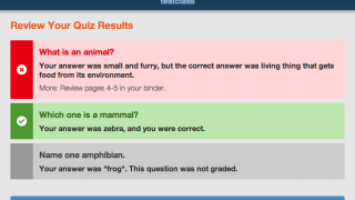Quiz results explain to students which answers they got correct.