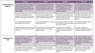 Writing rubrics are included, but not customizable.