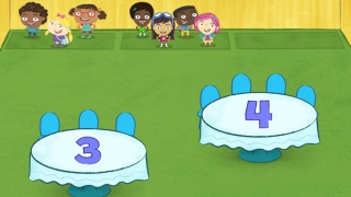 Drag each group to the table that has the right number of chairs.