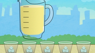 When cubes are evenly distributed, tilt the iPad to pour equal amounts of lemonade into each cup.