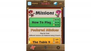 The app includes tutorial, featured, and built-in missions.
