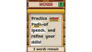 Players tap words that match the current part of speech, trying to avoid mistakes; correct answers are highlighted when students get stuck.